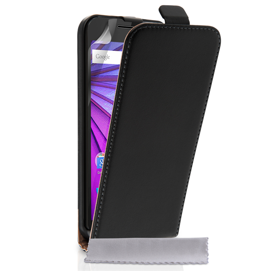 Caseflex Motorola Moto G 3rd Gen Real Leather Flip Case - Black