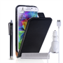 Caseflex Galaxy S5 Leather Flip Case in Black Stylus And Car Charger