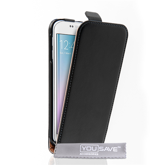 Caseflex Samsung Galaxy S6 Edge Real Leather Flip Case - Black