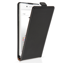 Caseflex Sony Xperia Z5 Real Leather Flip Case - Black
