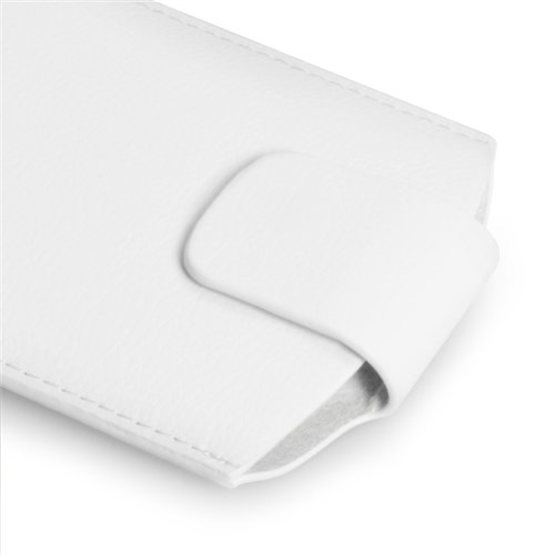 Caseflex Large Textured Faux Leather Phone Pouch - White