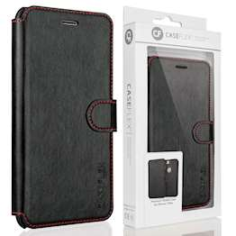 Caseflex Apple iPhone 7 Plus Leather-Effect Wallet Case - Black with Red Stitching (Retail Box)