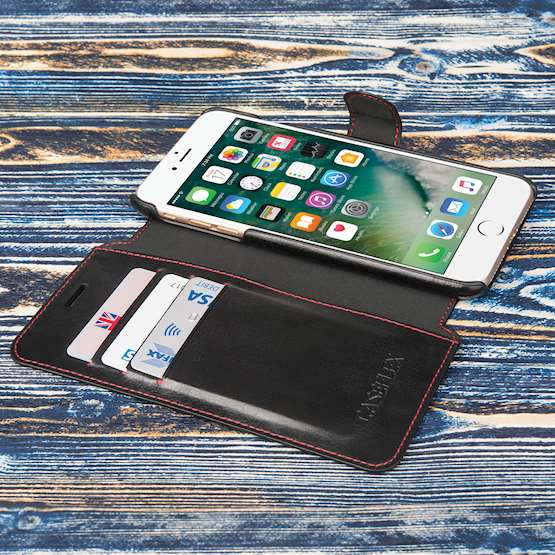 Caseflex iPhone 7 Plus Leather-Effect Wallet Case - Black with Red Lining