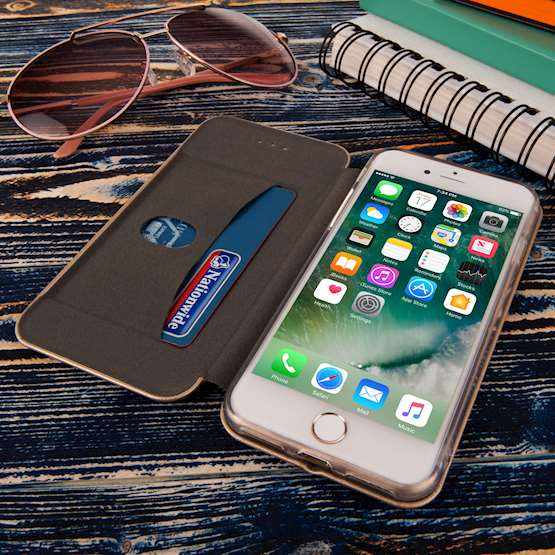 Caseflex iPhone 7 Leather-Effect Embossed Stand Wallet with Felt Lining - Gold (Retail Box)