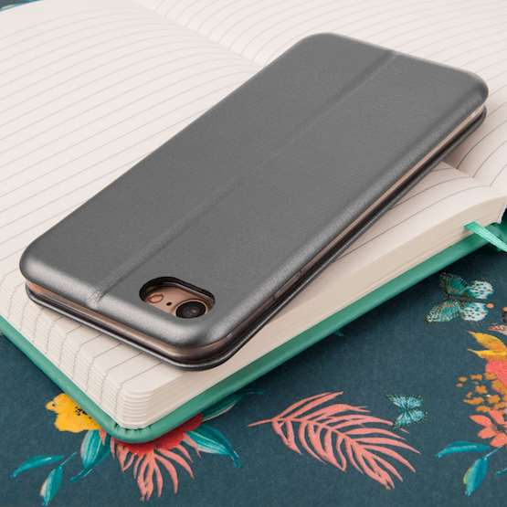 Caseflex iPhone 7 Leather-Effect Embossed Stand Wallet with Felt Lining - Grey (Retail Box)
