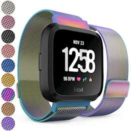 Replacement Strap for Fitbit Versa - Metal Milanese Band for Fitbit Versa (Multi-Coloured)