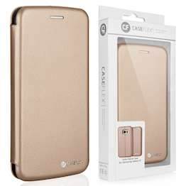 Caseflex Samsung Galaxy S7 Leather-Effect Embossed Stand Wallet with Felt Lining - Gold (Retail Box)