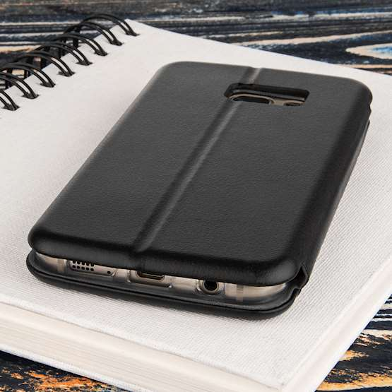 Caseflex Samsung Galaxy S7 Leather-Effect Embossed Stand Wallet with Felt Lining - Black (Retail Box)