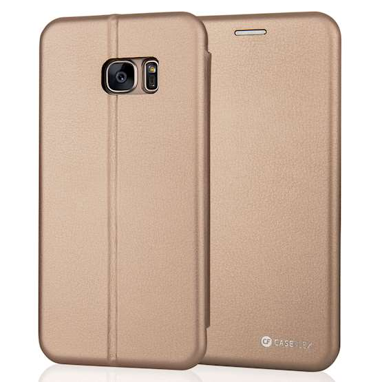 Caseflex Samsung Galaxy S7 Edge Leather-Effect Embossed Stand Wallet with Felt Lining - Gold (Retail Box)