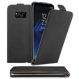 Caseflex Samsung Galaxy S8 Plus Real Leather Flip Case - Black