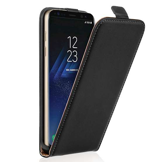 Caseflex Samsung Galaxy S8 Real Leather Flip Case - Black