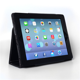 Caseflex iPad Air Textured Faux Leather Stand Cover - Black