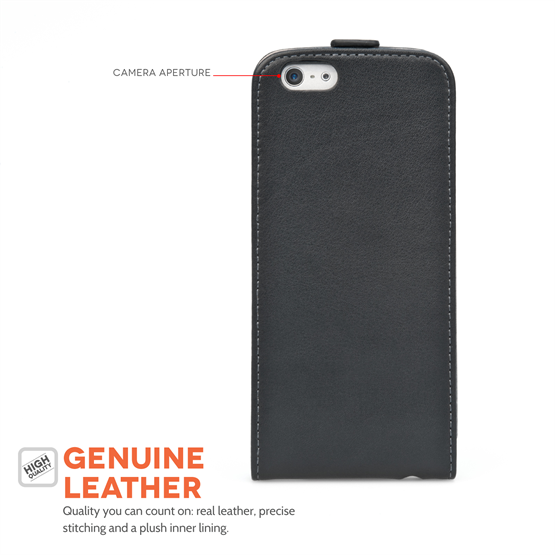 Caseflex iPhone 6 and 6s Real Leather Flip Case - Black