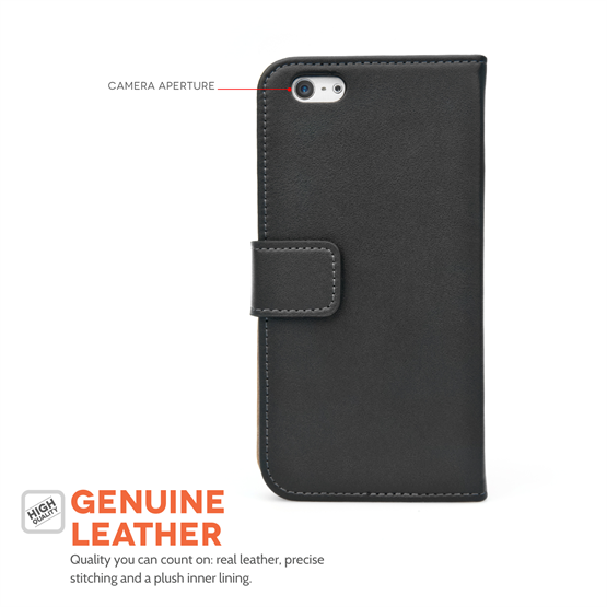 Caseflex iPhone 6 and 6s Real Leather Wallet Case - Black