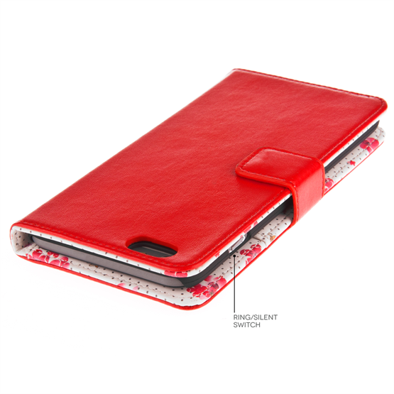 Caseflex iPhone 6 Plus and 6s Plus Leather-Effect Wallet Case – Red with Floral Lining