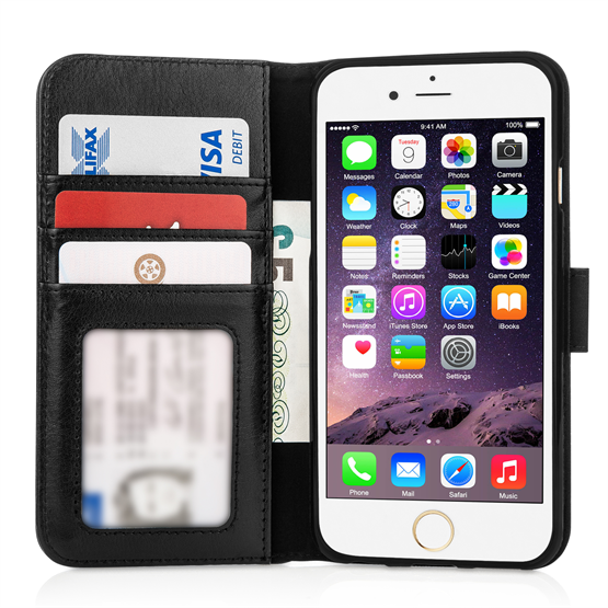 Caseflex iPhone 6 and 6s Real Leather ID Wallet Case - Black
