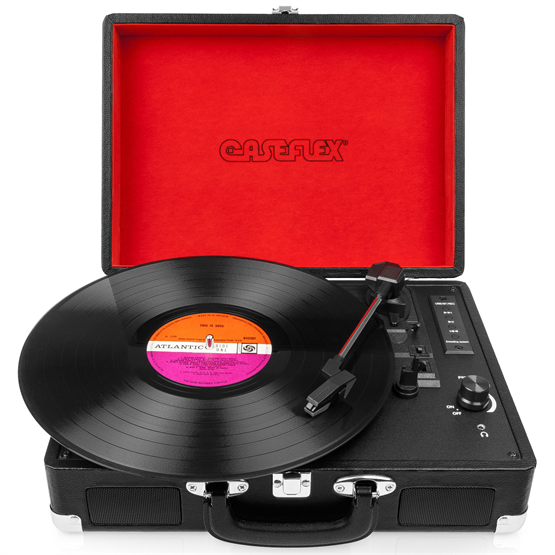 Caseflex Vinyl Record Player Briefcase Recorder & MP3 Player with Bluetooth Speakers