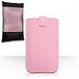Caseflex Leather-Effect Auto Return Pull Tab Pouch (L) - Baby Pink