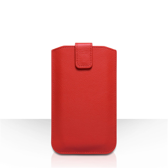 Caseflex Leather-Effect Auto Return Pull Tab Pouch (L) - Red