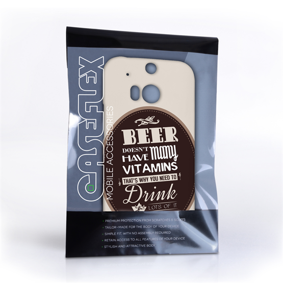 Caseflex HTC One M8 Beer Label Quote Hard Case – Brown