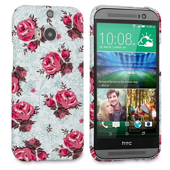 Caseflex HTC One M8 Vintage Roses Wallpaper Hard Case – Light Blue