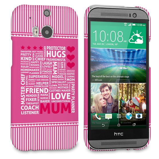 Caseflex HTC One M8 Mum Word Collage Hard Case – Pink