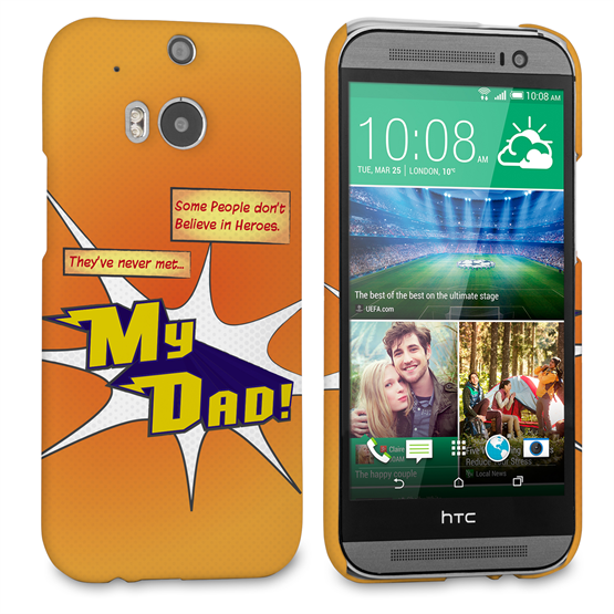 Caseflex My Dad Hero Cartoon HTC One M8 Case – Orange