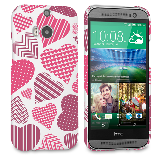 Caseflex HTC One M8 Love Heart Pattern Case