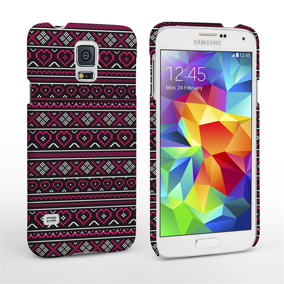 Caseflex Samsung Galaxy S5 Case  Fair Isle Heart Case - Red