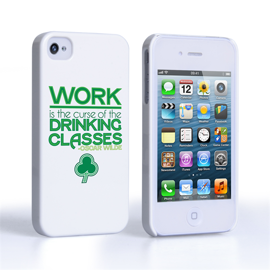 Caseflex iPhone 4 / 4S Wilde Drinking Classes Quote Hard Case – White and Green