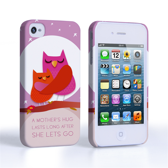 Caseflex iPhone 4 / 4S Mummy Owl Hard Case – Purple and Pink