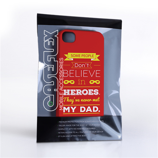 Caseflex Dad Heroes Quote iPhone 4 / 4S Case - Red