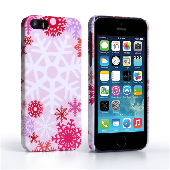 Caseflex iPhone SE Winter Christmas Snowflake Cover – Red