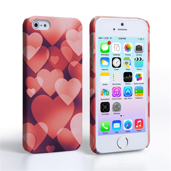 Caseflex iPhone 5 / 5S Shimmering Hearts Case - Red