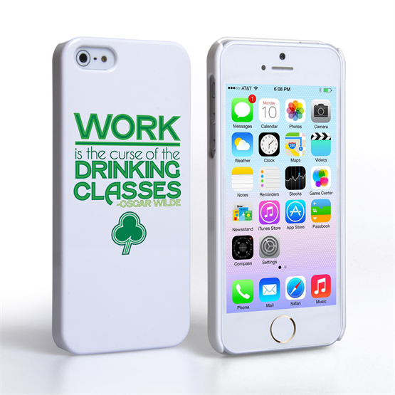 Caseflex iPhone 5 / 5S Wilde Drinking Classes Quote Hard Case – White and Green