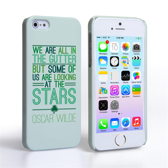 Caseflex iPhone SE Wilde Stars Quote Hard Case – White and Green