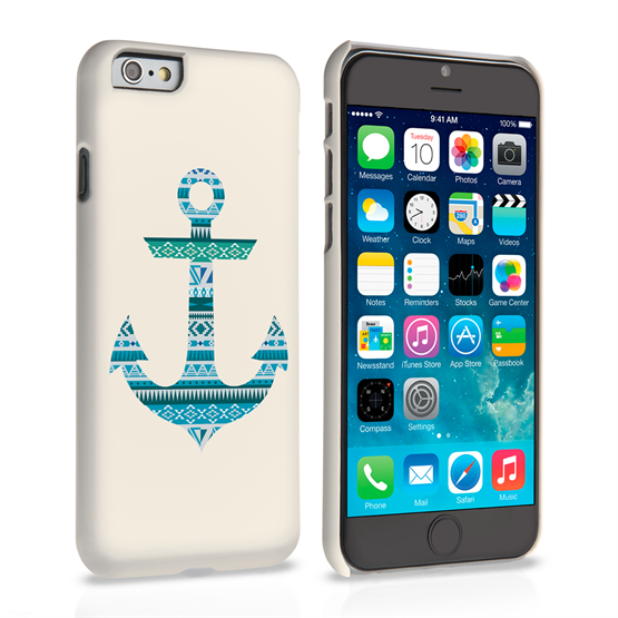 Caseflex iPhone 6 and 6s Aztec Blue Anchor Hard Case