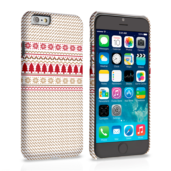 Caseflex iPhone 6 and 6s Christmas Knitted Snowflake Jumper Hard Case Brown / Red / White