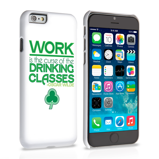 Caseflex iPhone 6 and 6s Wilde Drinking Classes Quote Hard Case – White and Green