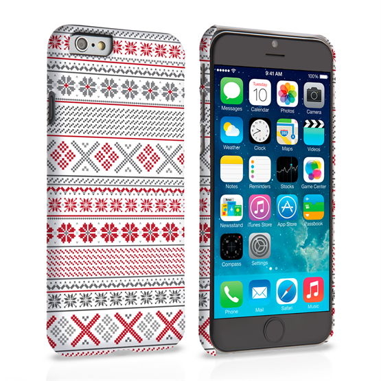 Caseflex iPhone 6 and 6s Case Fair Isle Cross Stitch Case - Grey / Red