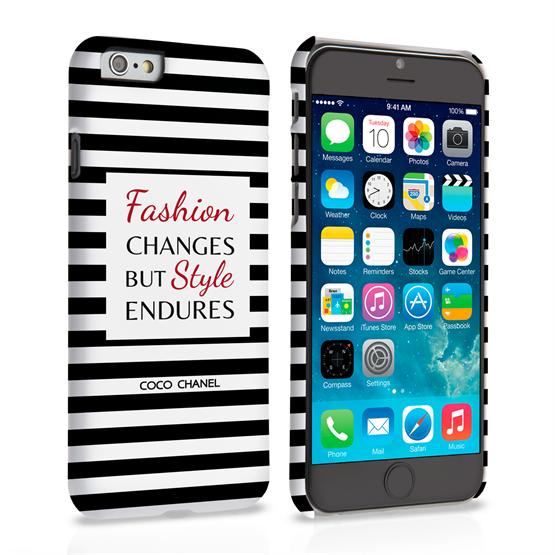 Caseflex iPhone 6 and 6s Chanel 'Fashion Changes' Quote Case – Black and White