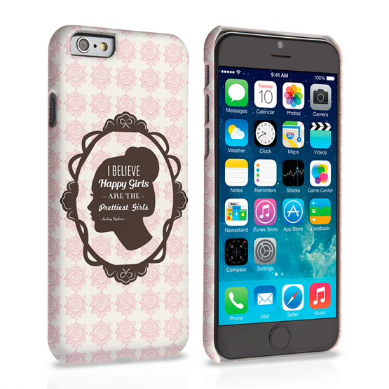 Caseflex iPhone 6 and 6s Audrey Hepburn 'Happy Girls' Quote Case