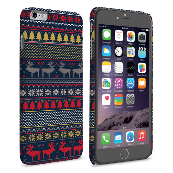 Caseflex iPhone 6 Plus and 6s Plus Reindeer Christmas Jumper Hard Case - Navy / Yellow