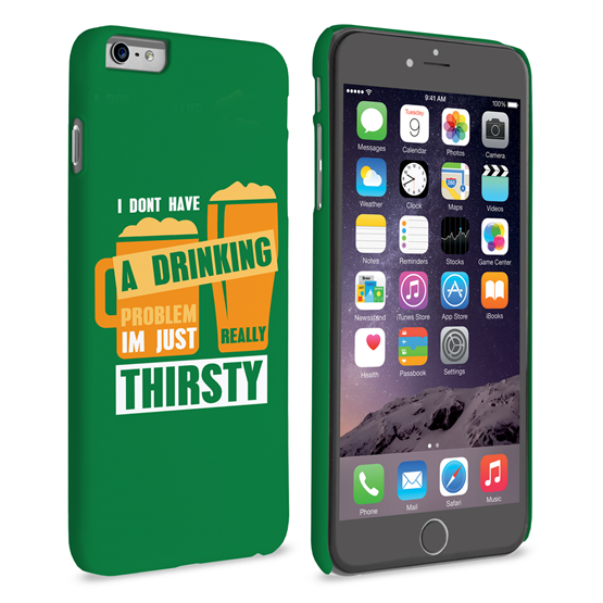 Caseflex iPhone 6 Plus and 6s Plus 'Really Thirsty' Quote Hard Case – Green