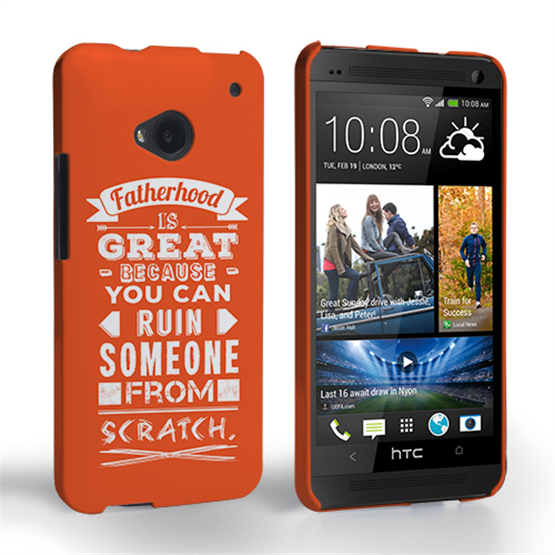 Caseflex Fatherhood Funny Quote HTC One Case – Orange