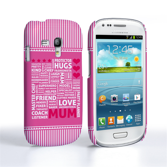 Caseflex Samsung Galaxy S3 Mini Mum Word Collage Hard Case – Pink