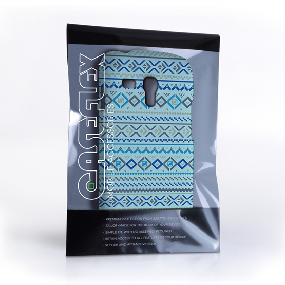 Caseflex Samsung Galaxy S3 Mini Fairisle Case – Blue with Blue Background