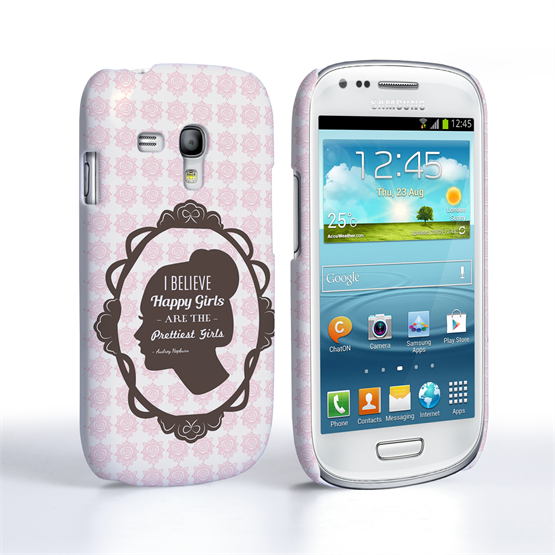 Caseflex Samsung Galaxy S3 Mini Audrey Hepburn 'Happy Girls' Quote Case