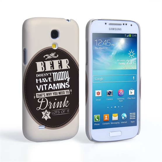 Caseflex Samsung Galaxy S4 Mini Beer Label Quote Hard Case – Brown