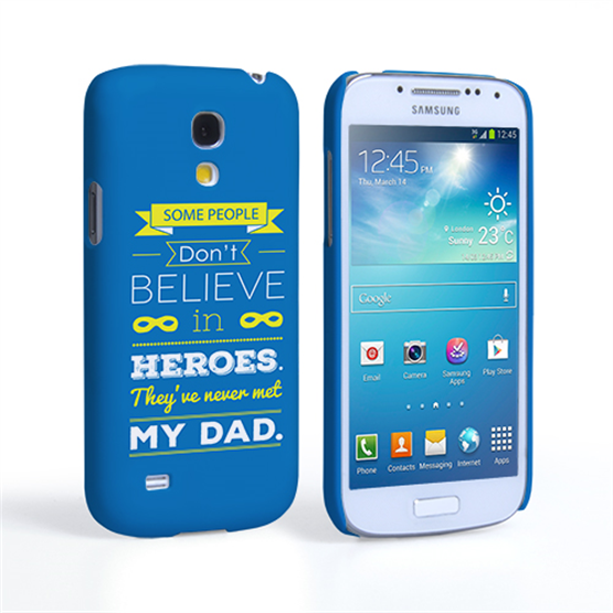 Caseflex Dad Heroes Quote Samsung Galaxy S4 Mini Case - Blue